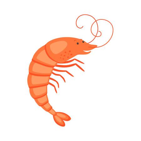 Shrimp on white background cartoon character flat 向量圖像