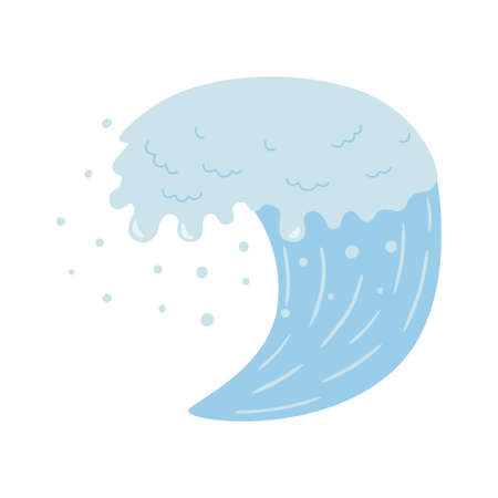 Blue wave and water spray, wavy symbols of nature in vector illustrations of movement