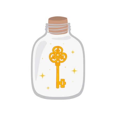 Bottle with key inside. Concept password protection. Vector illustration isolated on white background. 向量圖像