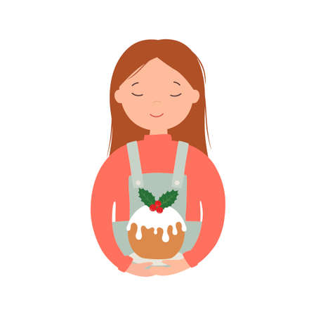 Girl with a christmas cake. Vector illustration.