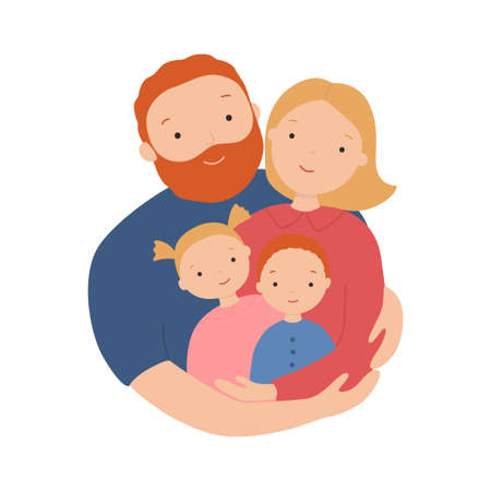 Happy family. Father, mother, son and daughter hug together. Vector illustration of a flat design 向量圖像
