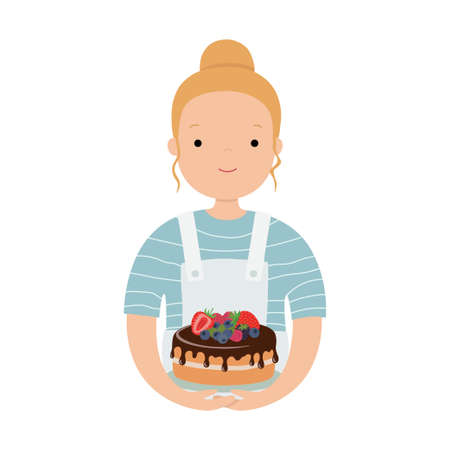 Cute girl cook, with a cake. Vector illustration