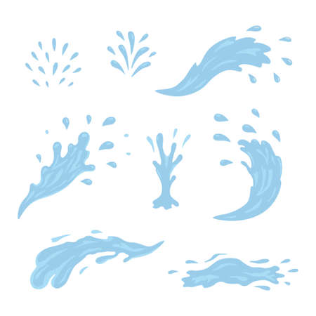 Water and drop icons. Blue waves and water splashes set