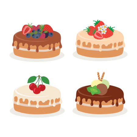 Cakes collection. Vector illustration of different types of beautiful modern cakes. 向量圖像