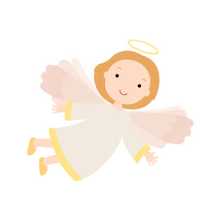 Cartoon angel. Vector illustration isolated on white background.