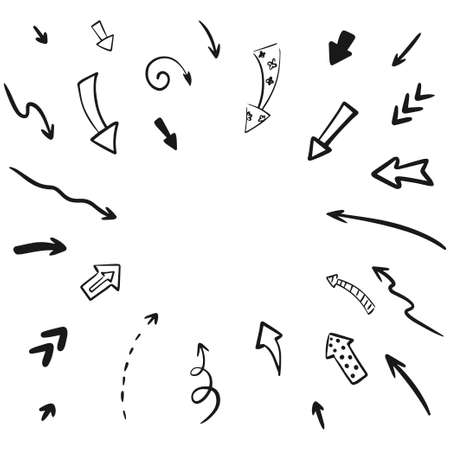Hand drawn vector arrow set collection. Iillustration isolated on white background. 向量圖像