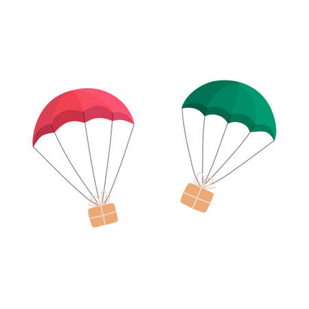 Gift boxes flying with parachutes. Vector illustration