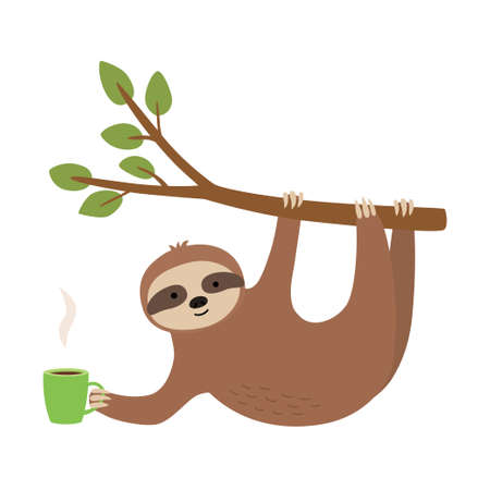 Cute sloth hang on twig and holding cup. Illusztráció