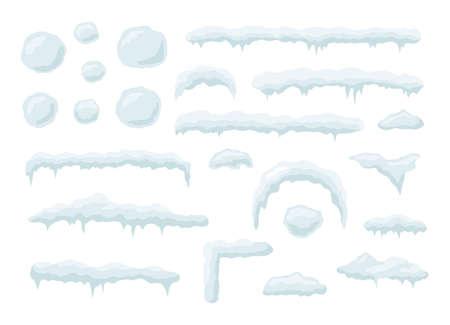 Snow vector caps. Snowballs and snowdrifts set. Snow cap vector collection. Winter element. Illusztráció