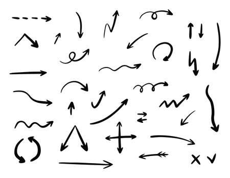 Hand drawn vector arrow set collection. Iillustration isolated on white background. Illusztráció
