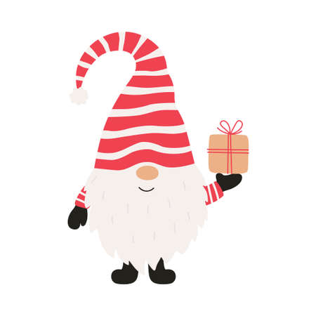 Cute cheerful gnome with gift christmas. Vector illustration.