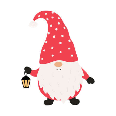 Cute christmas gnome with lantern. Vector illustration.