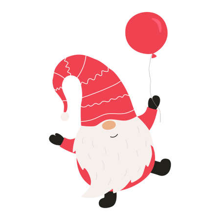 Cute christmas gnome with balloon. Vector illustration.