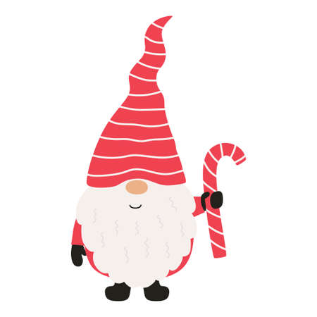 Cute christmas gnome with candy. Vector illustration. Illusztráció