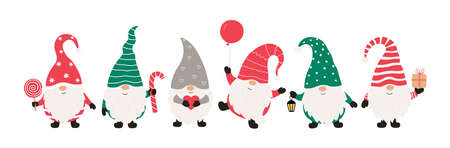 Christms gnomes collection isolated on white background. Vector