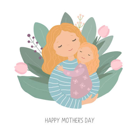 Happy Mothers Day. Mother and daughter embrace among the flowers. Illusztráció