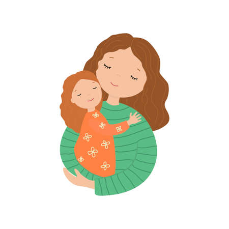 Mother and little daughter hug. Vector illustration about love.