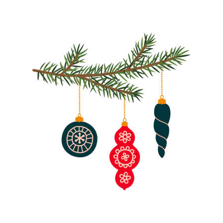 Christmas tree branches with New Year toys.