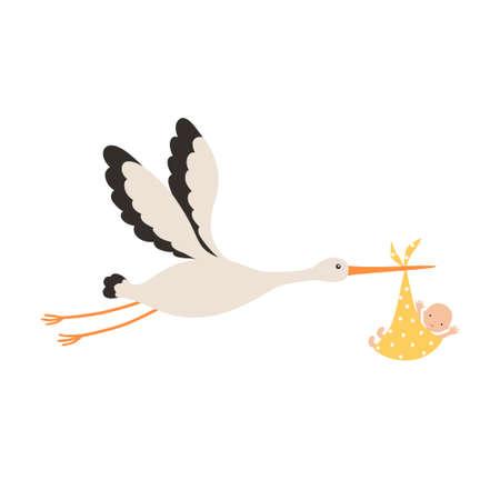 Stork and baby. Vector illustration isolated on white background Illusztráció