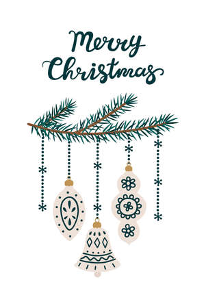 Christmas tree branches with New Year toys. Merry Christmas card