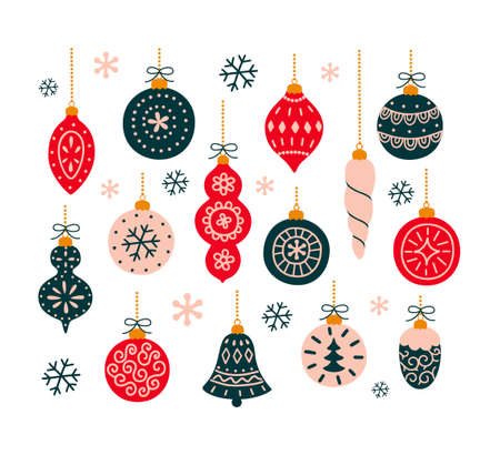 Set Christmas toys for decorating tree. Vector illustration.
