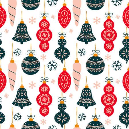 Vector seamless pattern with New Year and Christmas symbols. Illusztráció