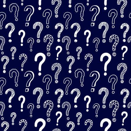 Seamless vector pattern with doodle questions marks. Illusztráció