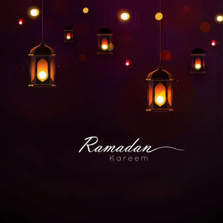 Ramadan Kareem greeting on blurred background with beautiful illuminated Arabic lamp and hand drew calligraphy lettering. Vector illustration.