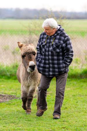 complicity between a man and a donkey Reklamní fotografie