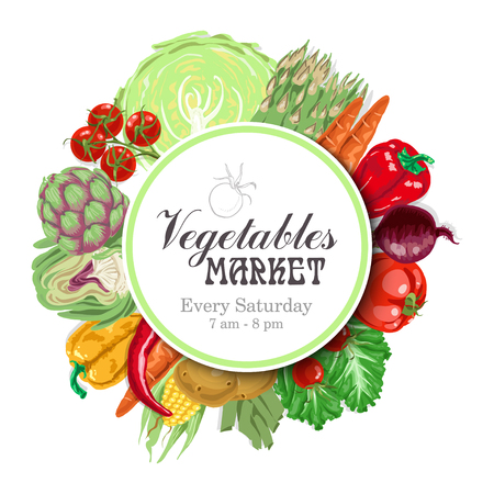 Vector circle of vegetables. New design for the vegetable market. Vector illustration for your design