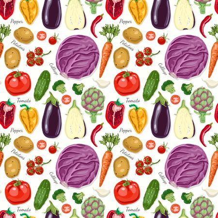 Patrón transparente de vector con verduras Ilustración de vector