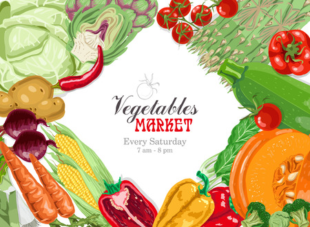 Vector background with vegetables: cabbage, artichoke, tomato, asparagus, zucchini, spinach, pumpkin, carrots, corn and potatoes. Marketplace poster Иллюстрация