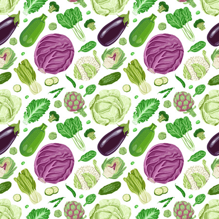 Vector seamless pattern with vegetables. Vector illustration for your design Illustration