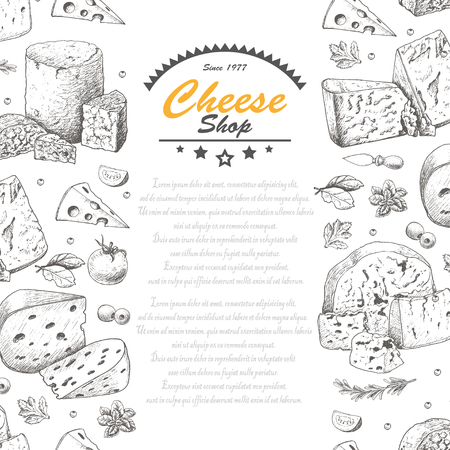 Vertical background with cheese products. Vector illustration for your design
