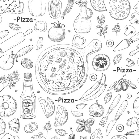 Seamless pattern with pizza and various products. Vector illustration for restaurant identity, packaging and menu design