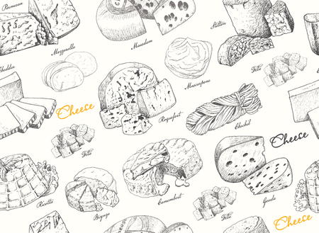 Seamless pattern with a variety of cheeses. Vector illustration for your design