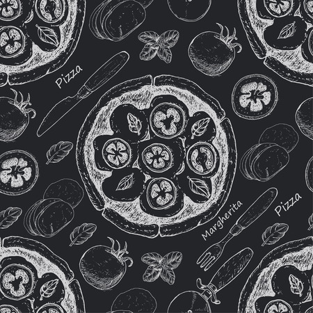 Seamless pattern with pizza. Vector illustration for your design