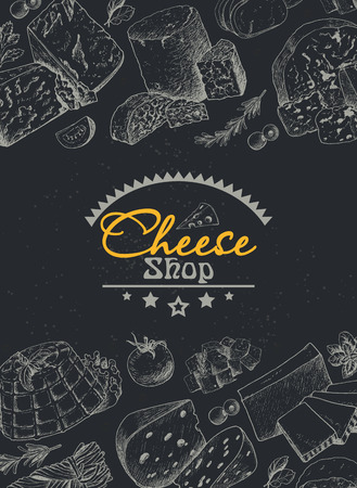 Vector background with a variety of cheeses. Vector illustration for your design Stock fotó - 110023458