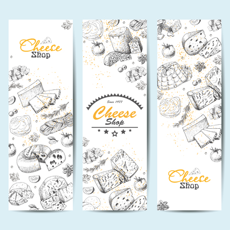 Vertical banners with a variety of cheeses. Vector illustration for your design