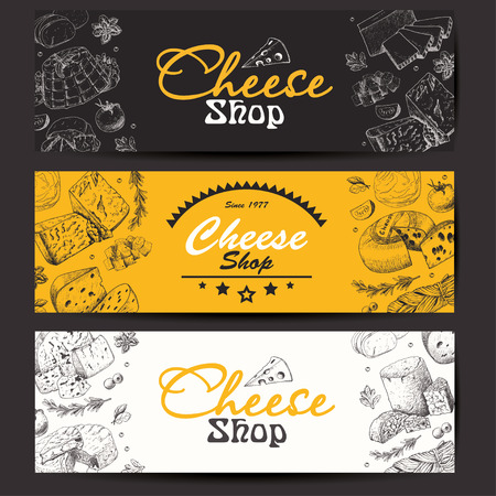Horizontal banners with a variety of cheeses  イラスト・ベクター素材