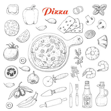 Set of isolated ingredients for cooking pizza. Vector illustration for your design
