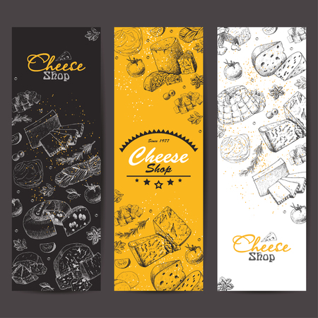 Vertical banners with a variety of cheeses. Vector illustration for your design Stock fotó - 110023466