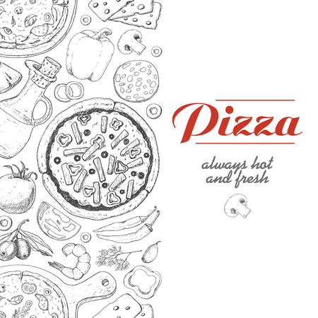 Vertical background with pizza and various products. Vector illustration for your design