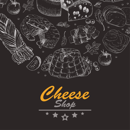 Horizontal background with cheese products. Vector illustration for your design 向量圖像