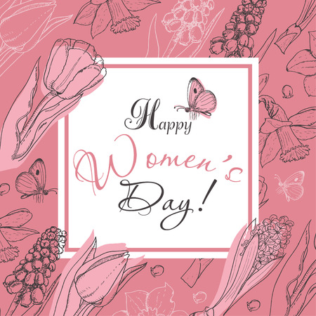Greeting card for International Womens Day celebration. Vector illustration for your design