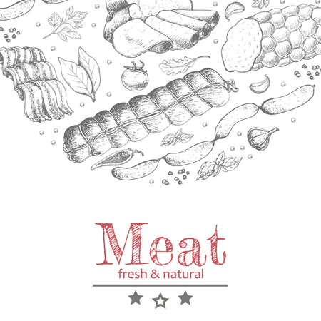 Vector background with meat products. Vector illustration for your design