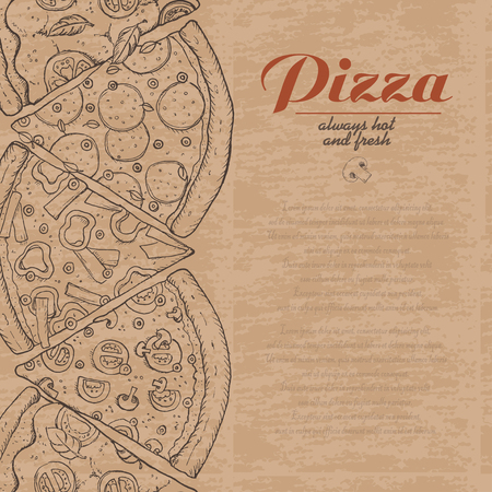 Vector background with pieces of pizza. Vector illustration for your design