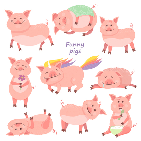 Set of Funny Piggy symbol 2019 new year. Piglet smiles, sits, lies, eats porridge, sleeps, pig unicorn. Vector illustration for your design