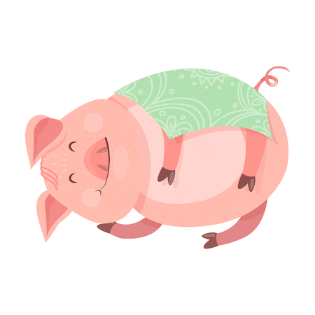 A funny new year's Piggy 2019 symbol. The pig is asleep and covered by a blanket. Vector illustration for your design