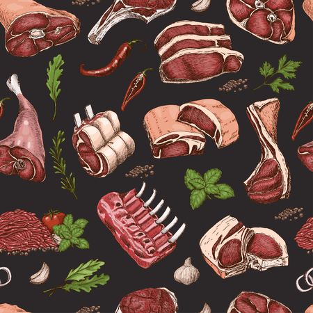 Vector seamless pattern with different color meats in sketch style. Vector illustration for your design Illustration
